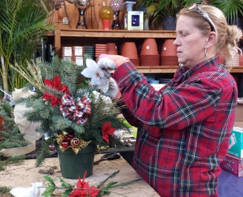 Herbeins Kim Augustine preparing Holiday Logs