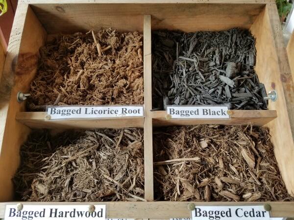 Bagged mulch 2 cu ft brown natural cedar black licorice Herbeins Garden Center Emmaus PA