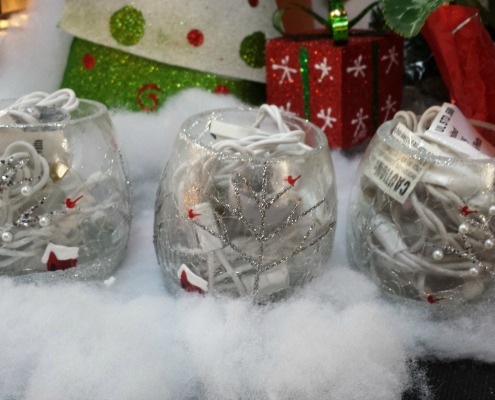 Holiday Gift Idea Christmas Glass Bulb Lit Candles Herbeins Garden