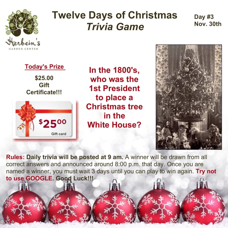 Herbeins Garden Center Twelve Days of Christmas Trivia Day 3 Lehigh Valley Emmaus Pa
