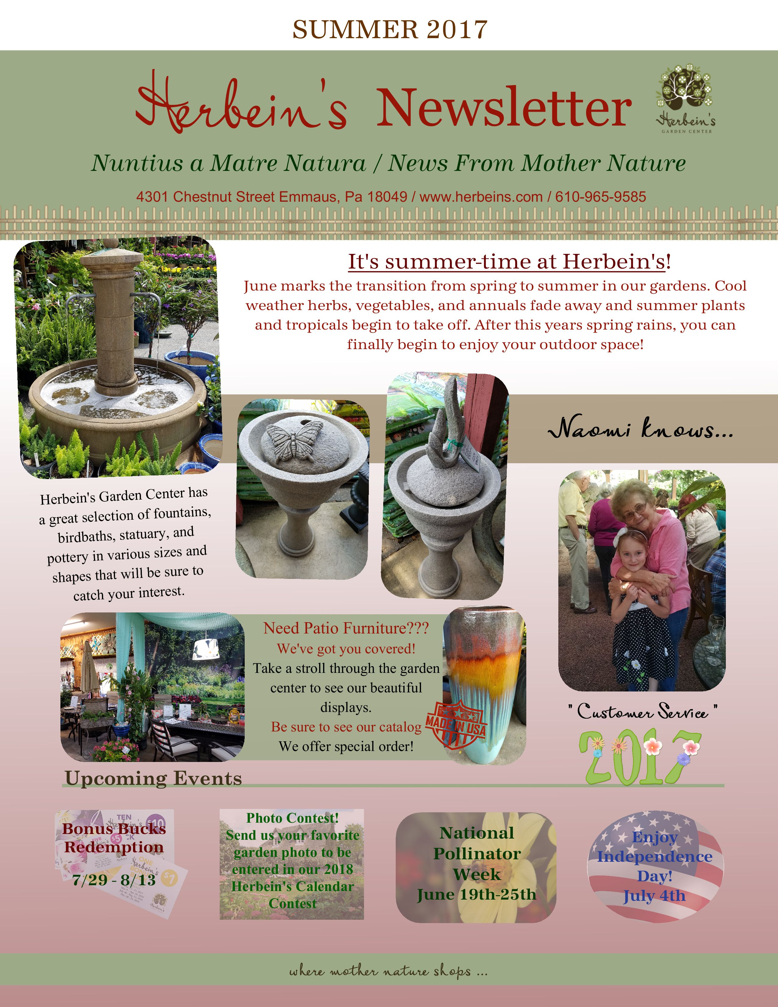 2017 Summer Newsletter Herbeins Garden Center Emmaus Pa
