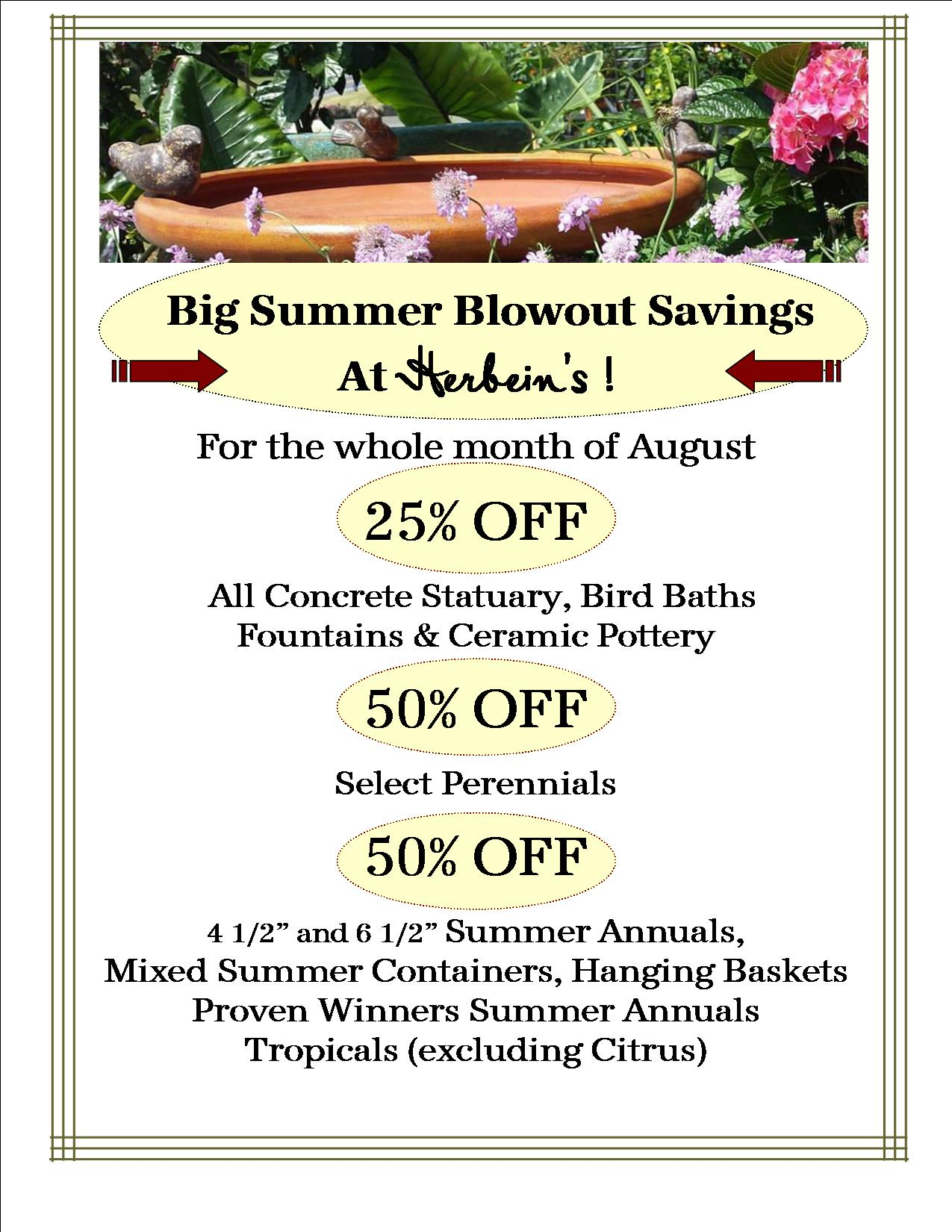 August Blowout Sale Fountains Statuary Bird Baths Pottery Concrete Perennials Flowers Herbeins Garden Center Lehigh Valley Emmaus Pa