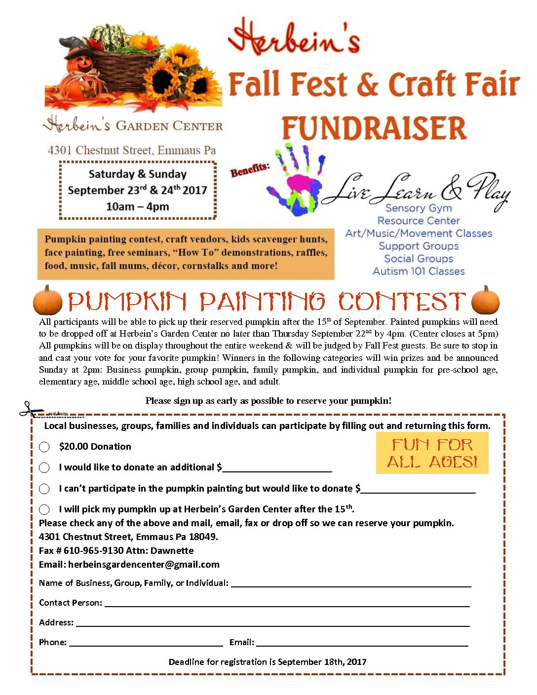 Contest Form | Fall Fest Craft Fair Fundraiser Pumpkin Painting Contest Form