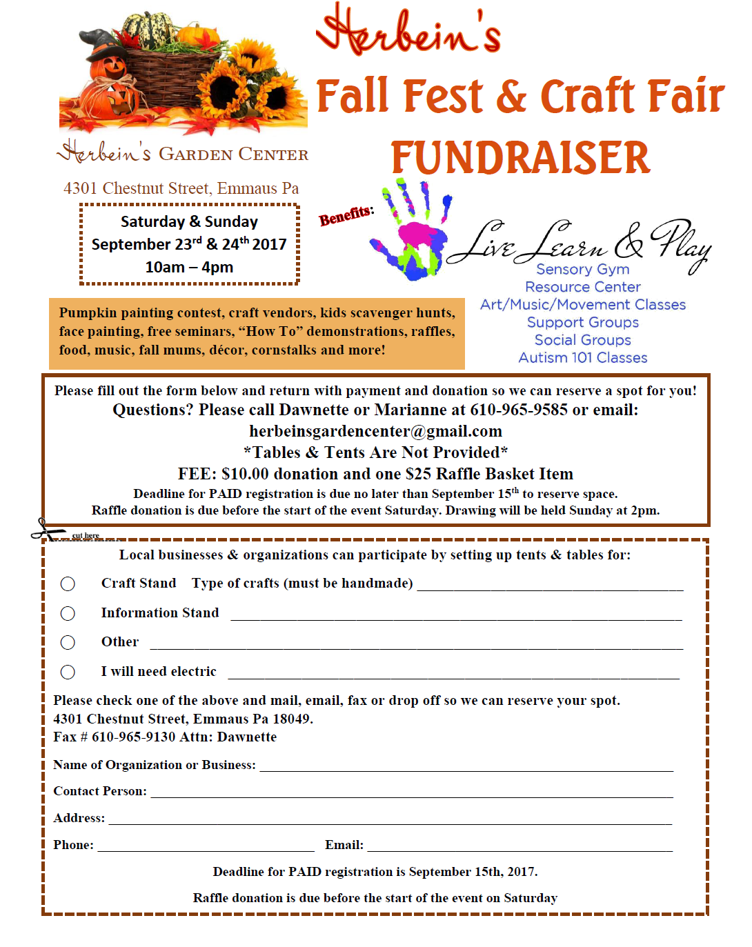 Herbein's Fall Fest Craft Fair Fundraiser Vendor Form 2017 September Events Live Learn & Play Emmaus Pa