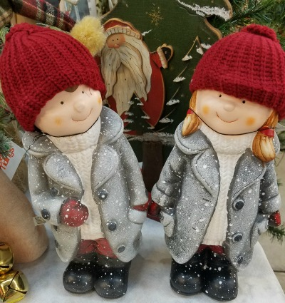 Christmas Boy and Girl Figurines