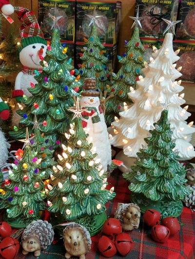 Christmas Ceramic Pre-lit Trees
