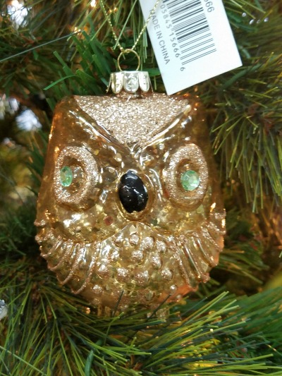Christmas Gold Owl Ornament