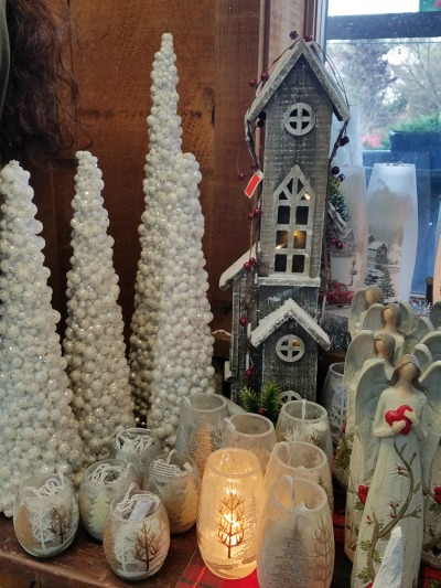 Christmas White Trees Angels House Lit Glass