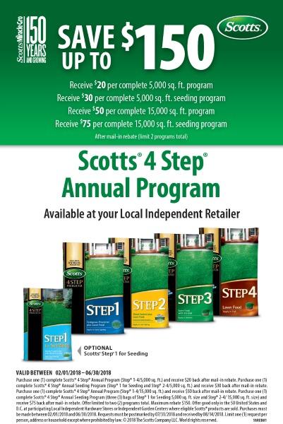 Scotts 4 Step Annual Program rebate 2018