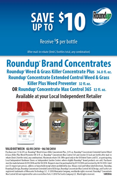 Scotts RoundUp Concentrate Rebate 2018