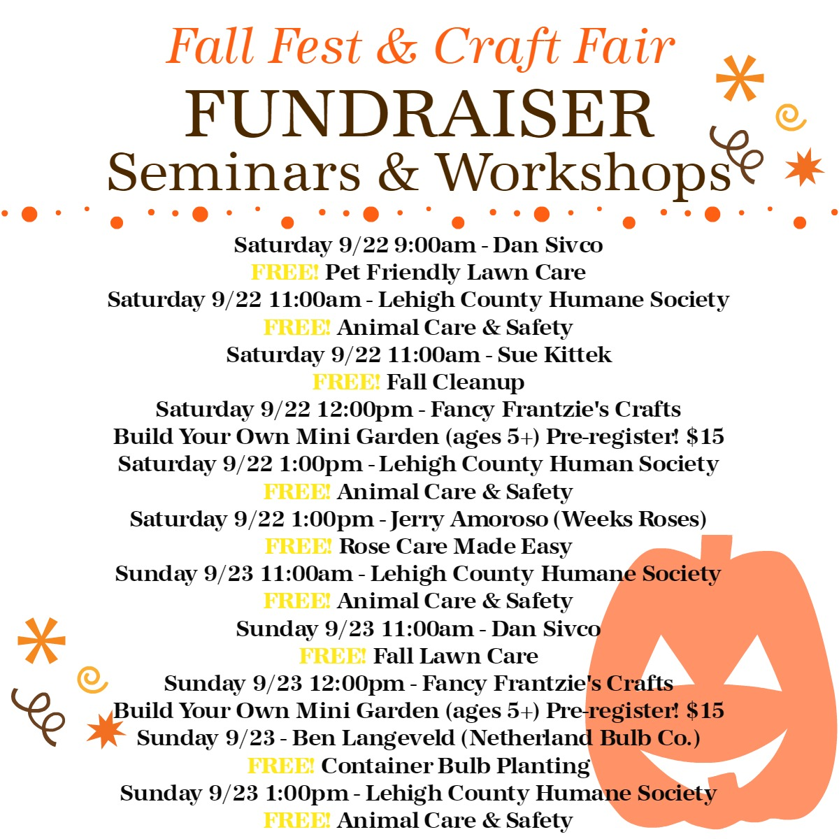2018 Fall Fest Seminars & Workshops Herbeins Garden Center