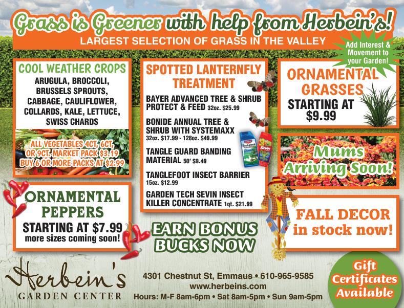 Herbeins Garden Center Ad for week of 8/21/2018
