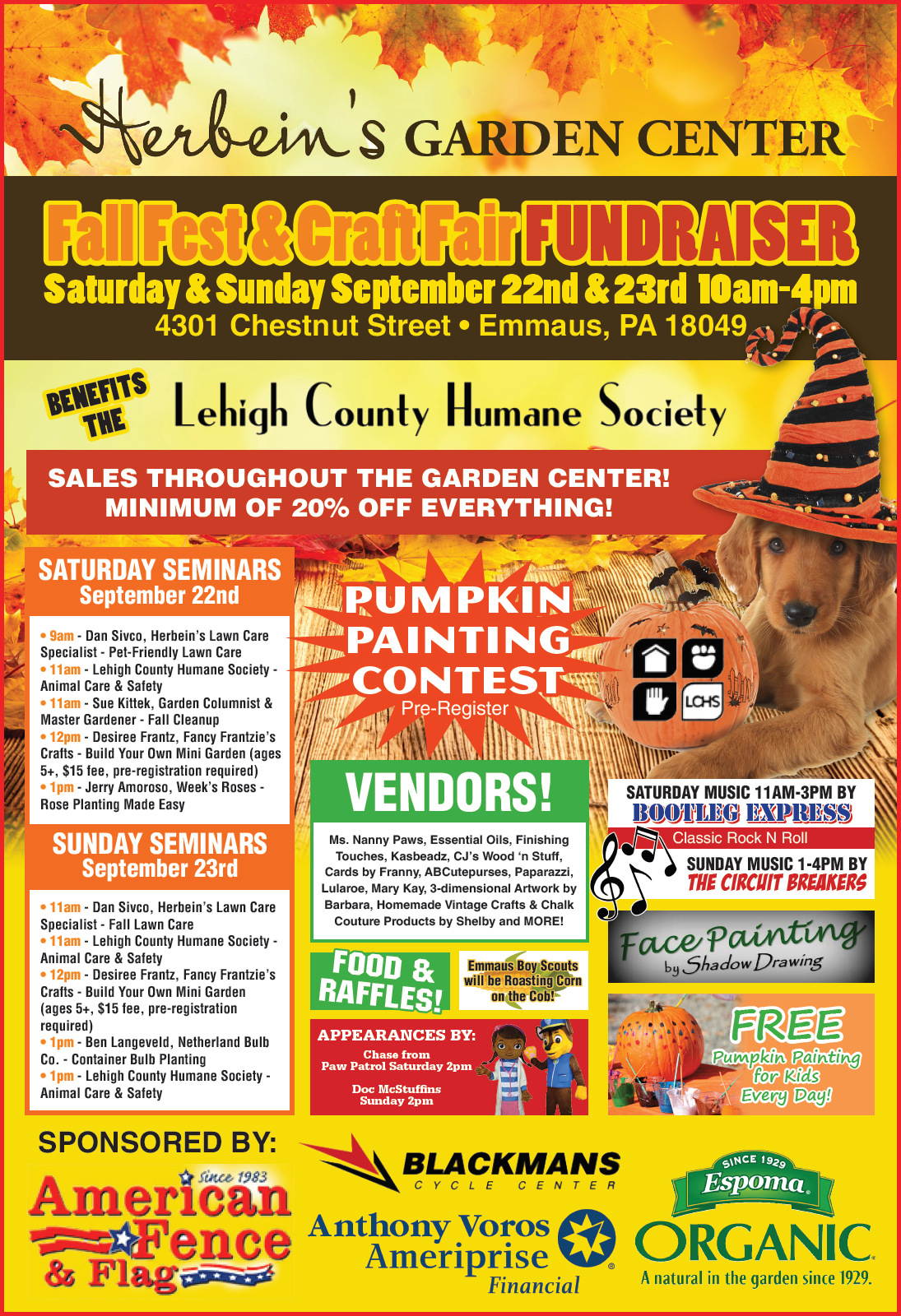 Herbeins Garden Center 2018 Fall Fest Poster