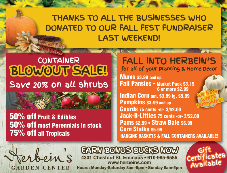 Herbeins Garden Center Ad for week of 9/25/2018