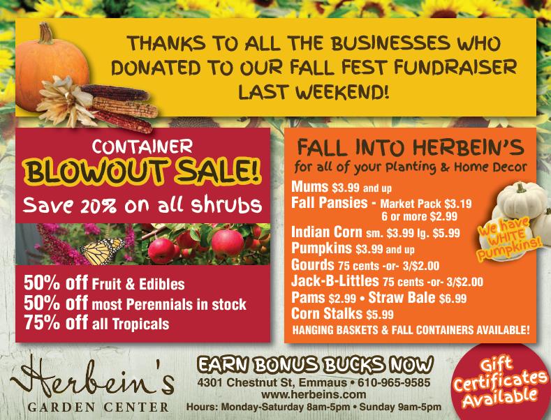 Herbeins Garden Center Ad for week of 9/25/2018