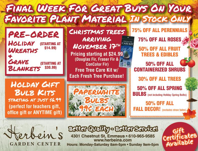 Herbeins Garden Center Ad for week of 10/31-11/06/2018