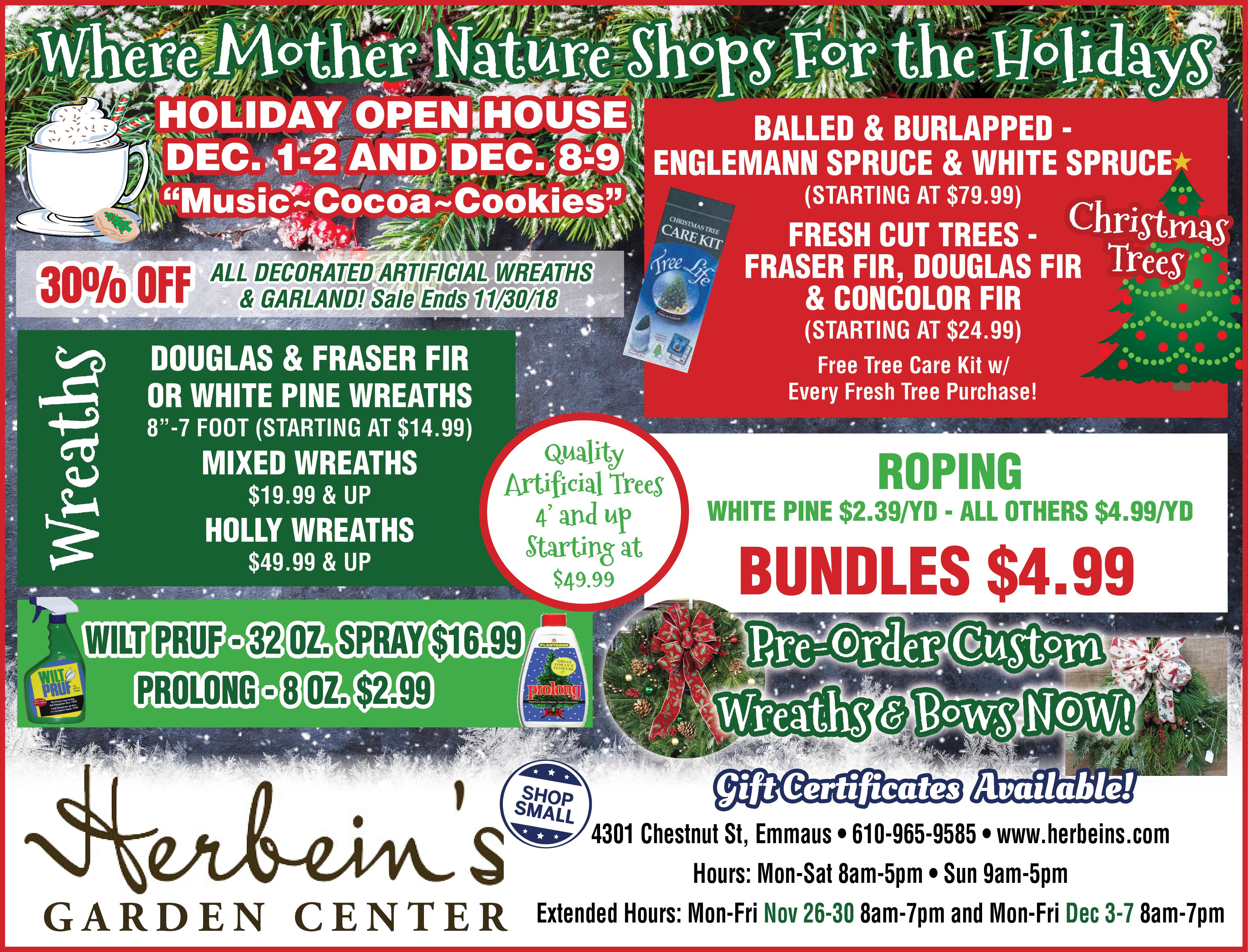 Herbeins Garden Center Ad for week of 11/27-12/03/2018