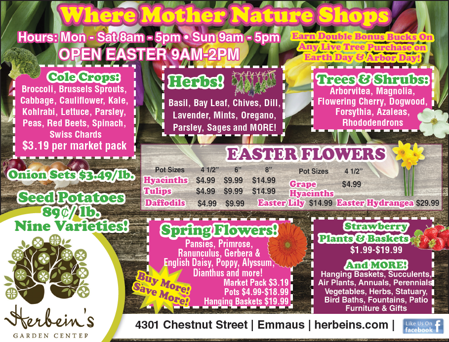 Herbeins Garden Center Ad for week of 4/17-4/23/2019
